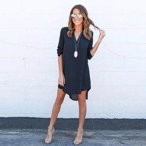 Dresses & Skirts - Rolled Sleeve High Low V Neck Chiffon Shirt Dress